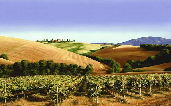 Tuscan Landscape Art Print featuring the painting Under The Tuscan Sky by Michael Swanson