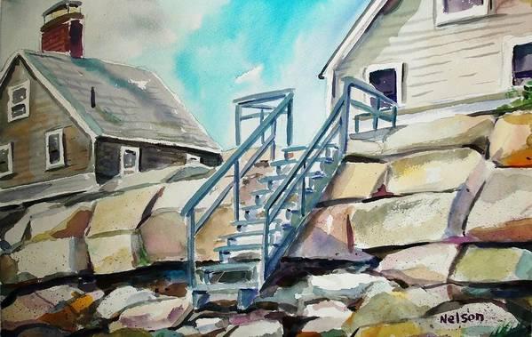 Wells Beach Art Print featuring the painting Wells Beach Beach Stairs by Scott Nelson