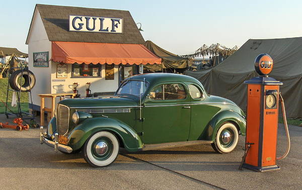 Gulf Service Station Art Print featuring the photograph 1942 Gulf Service Station With Antique Car by Angelo Rolt
