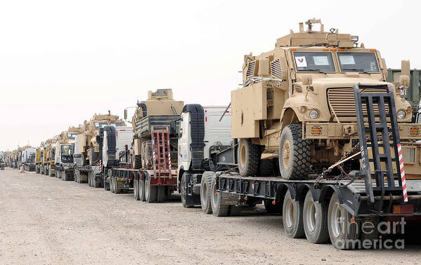 Iraq Print featuring the photograph A Convoy Of Mine-resistant Ambush by Stocktrek Images