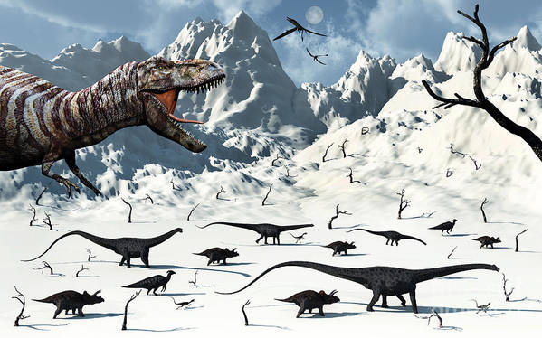 No People Art Print featuring the digital art A Tyrannosaurus Rex Stalks A Mixed by Mark Stevenson