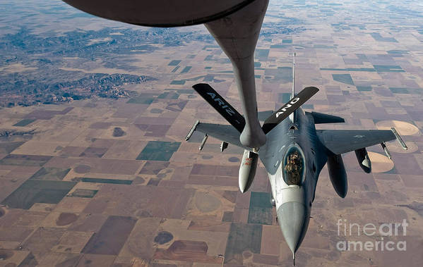 Air-to-air Art Print featuring the photograph An F-16 Fighting Falcon Moves by Stocktrek Images