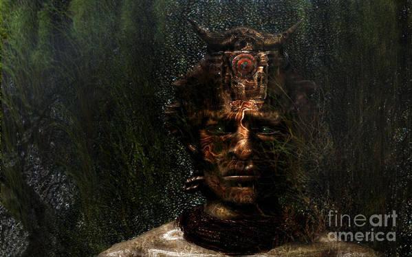 Green Art Print featuring the digital art Bushman by Jan Willem Van Swigchem