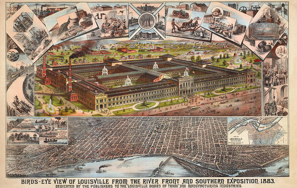 Panoramic Map Art Print featuring the digital art Louisville 1883 by Donna Leach
