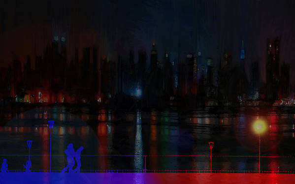Bridge Walk Walking People Man Male Woman Men Women Child Children Bike Bicycle Lamp Light Flare Catwalk Gangway Modern Art Painting Digital Color Colorful Couple Night View Expressionism Impressionism New York Nyc City Cityscape Art Print featuring the painting New York Bridges by Steve K