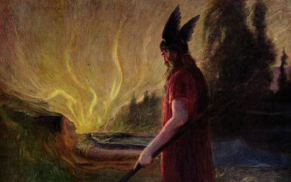 As The Flames Rise Art Print featuring the painting Odin Leaves As The Flames Rise by H Hendrich