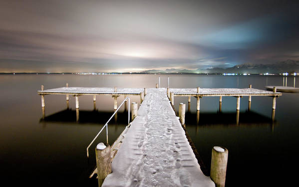 Horizontal Art Print featuring the photograph Pier At Night by daitoZen