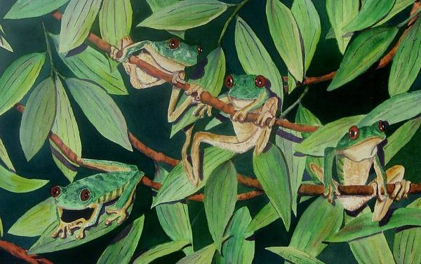Red-eyed Tree Frogs Art Print featuring the painting Red Eyed Tree Frogs IIi by Anita Riemen