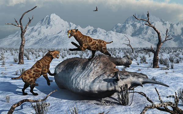 Digitally Generated Image Art Print featuring the digital art Sabre-toothed Tigers Battle by Mark Stevenson