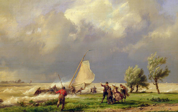Storm; Stormy; Wind; Windswept; Windy; Wreck; Ship; Wreck Art Print featuring the painting The Shipwreck by Hermanus Koekkoek