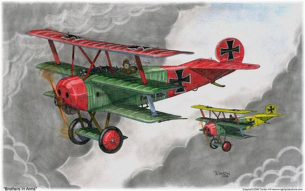 Aircraft Art Print featuring the drawing Brothers In Arms by Trenton Hill