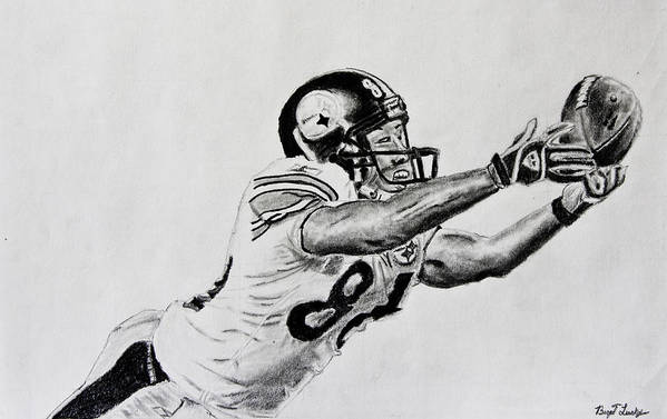 Drawing Art Print featuring the drawing Hines Ward Diving Catch by Bryant Luchs