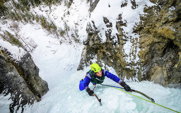 Canada Art Print featuring the photograph Ice Climbers On A Route Called Professor Falls Rated Wi4 In Banf by Elijah Weber