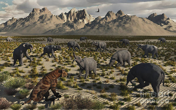 Digitally Generated Image Art Print featuring the digital art A Sabre-toothed Tiger Stalks A Herd by Mark Stevenson