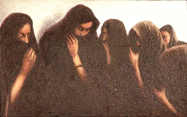 Figures Art Print featuring the painting Arab Women by James LeGros