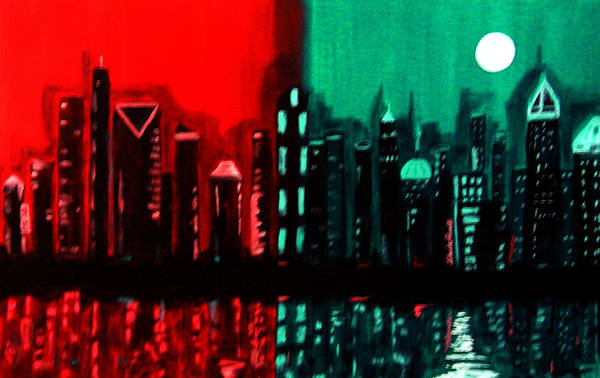 36 Inch Abstract Acrylic Nightscape Art Print featuring the painting Atlanta by Linda Powell