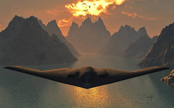 B-2 Stealth Lockeed Martin Art Print featuring the mixed media B-2 Spirit by Steven Palmer
