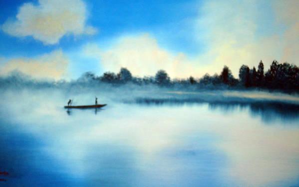 Blue Art Print featuring the painting Blue Lagoon by SueEllen Cowan