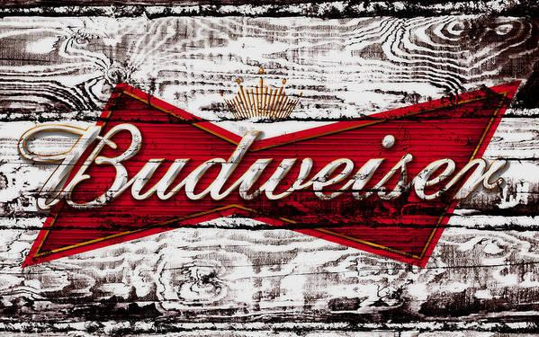 Budweiser Art Print featuring the mixed media Budweiser Wood Art 5a by Brian Reaves