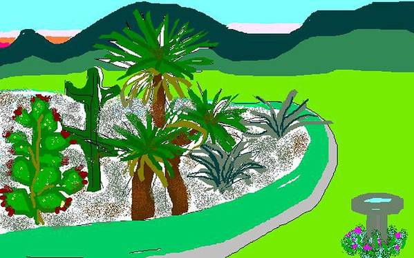 Cactus Art Print featuring the digital art Cactus Garden by Carole Boyd