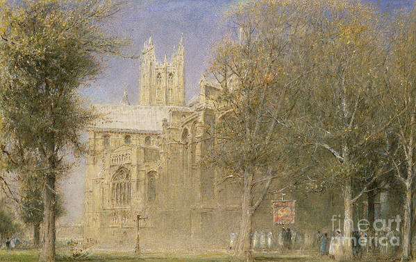 Canterbury Art Print featuring the painting Canterbury Cathedral by Albert Goodwin