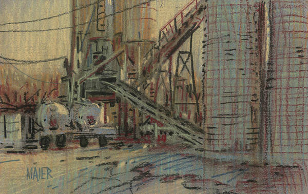 Cement Art Print featuring the drawing Cement Company by Donald Maier