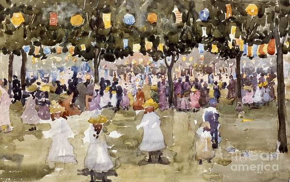 Central Park; Park; New York; Manhattan; Outdoors; Celebration; Summer; Summertime; Seasons; Independence Day; 4th July; Children; Lanterns; Decorations; Festive; Crowd; Crowds; Sketch; Atmospheric Art Print featuring the painting Central Park New York City July Fourth by Maurice Prendergast