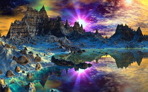 David Jackson Chosen Hills Sunrise Alien Landscape Planets Scifi Art Print featuring the digital art Chosen Hills Sunrise by David Jackson