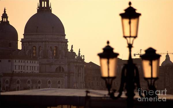 Venice Art Print featuring the photograph Church Of Santa Maria Della Salute With Lamp Post by Michael Henderson