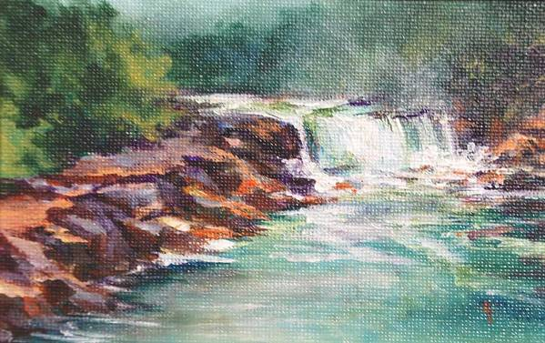 Waterfall Art Print featuring the painting Cumberland Falls by Donna Pierce-Clark