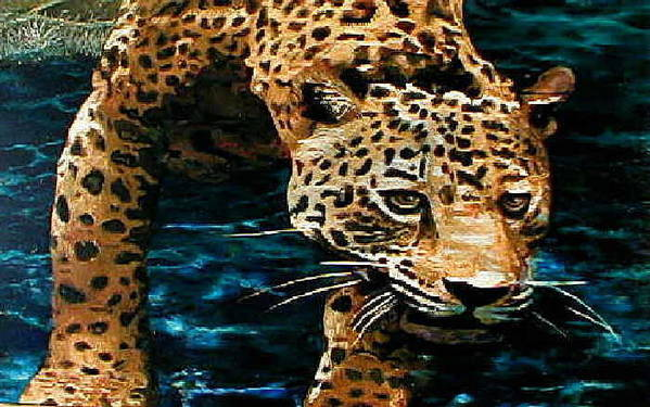 Leopard Art Print featuring the painting Drink After Work by Michael Durst
