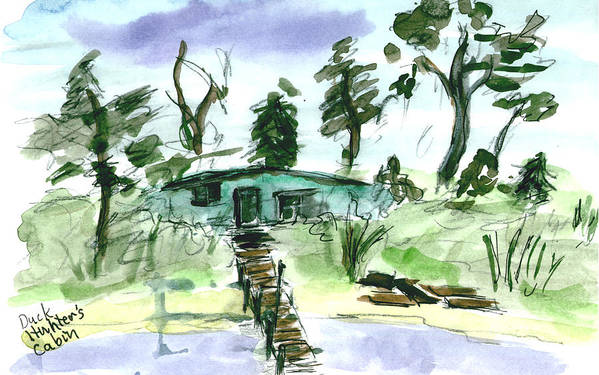Kevin Callahan Art Print featuring the painting Duck Hunters Cabin by Kevin Callahan