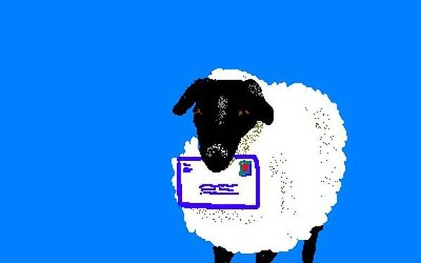 Sheep Art Print featuring the digital art Ewe Have Mail by Carole Boyd