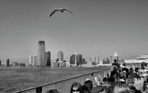 Ny Art Print featuring the photograph Ferry Ride To Statue Of Liberty Ny Nj Black Wht by Chuck Kuhn