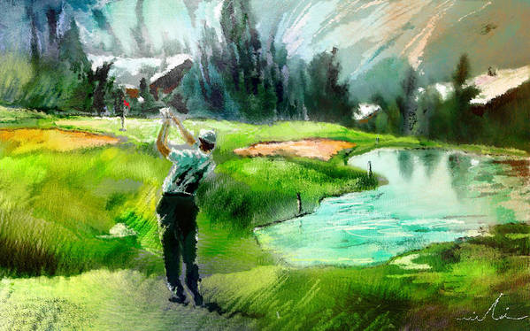Golf Art Print featuring the painting Golf In Crans Sur Sierre Switzerland 01 by Miki De Goodaboom