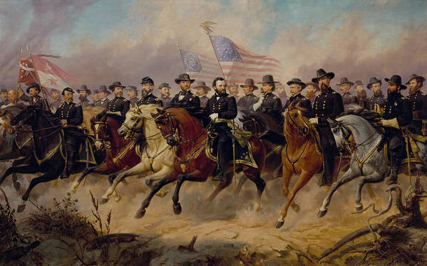 Grant Art Print featuring the painting Grant And His Generals by War Is Hell Store