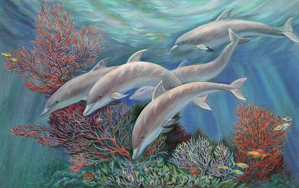 Dolphin Art Print featuring the painting Happy Family - Dolphins Are Awesome by Svitozar Nenyuk