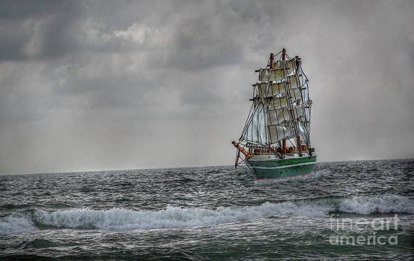 Ship Art Print featuring the digital art High Seas Sailing Ship by Randy Steele