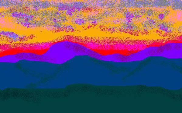 Landscape Art Print featuring the digital art Hill Country Sunset by Carole Boyd