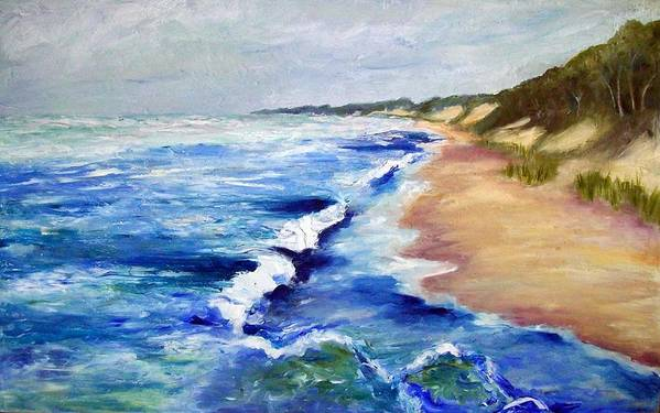 Whitecaps Art Print featuring the painting Lake Michigan Beach With Whitecaps by Michelle Calkins