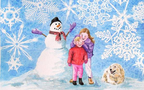 Snowman Art Print featuring the painting Let It Snow by Gale Cochran-Smith