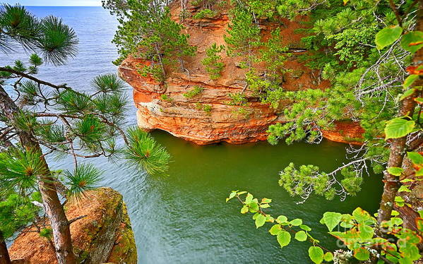 Apostle Islands Lakeshore Art Print featuring the photograph Looking Down On The Caves by Bryan Benson