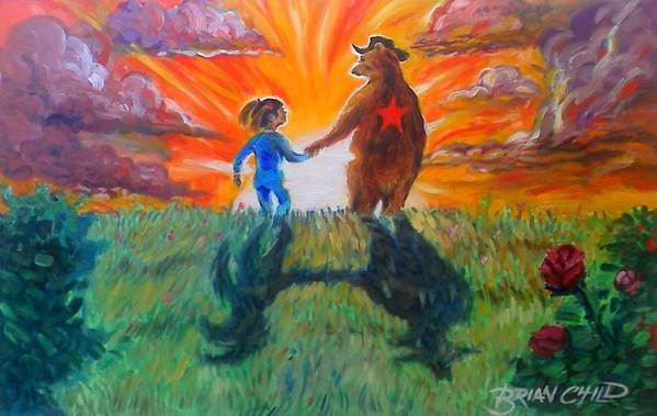 Bears Art Print featuring the painting Lulu And The Bear by Brian Child