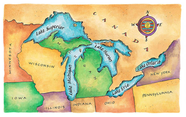 Horizontal Art Print featuring the digital art Map Of The Great Lakes by Jennifer Thermes