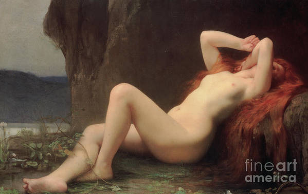 Nude Art Print featuring the painting Mary Magdalene In The Cave by Jules Joseph Lefebvre