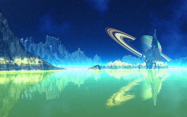 David Jackson Saturn Methane Seas Of Titan Alien Landscape Planets Scifi Art Print featuring the digital art Methane Seas Of Titan by David Jackson
