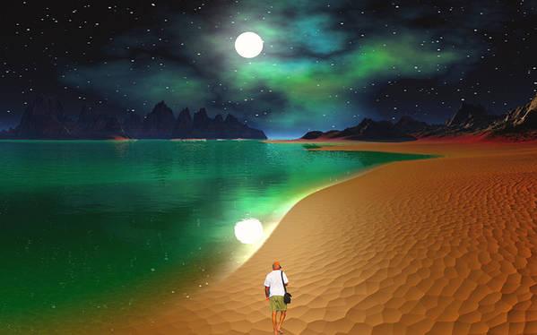 David Jackson Midnight Beach Walk - Sea Of Cortezz Alien Landscape Planets Scifi Art Print featuring the digital art Midnight Beach Walk - Sea Of Cortezz by David Jackson