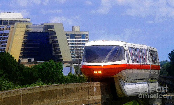 Art Art Print featuring the painting Monorail by David Lee Thompson