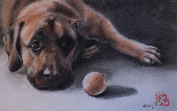 Mastiff Art Print featuring the painting No Time To Play by MaryAnn Cleary