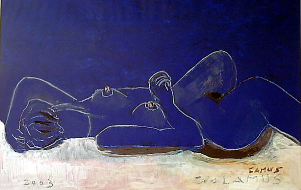 Art Art Print featuring the painting Nude Blue by Carlos Camus